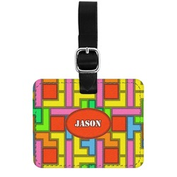 Tetris Print Genuine Leather Rectangular  Luggage Tag (Personalized)
