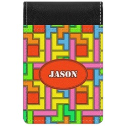 Tetris Print Genuine Leather Small Memo Pad (Personalized)