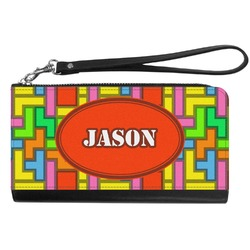 Tetris Print Genuine Leather Smartphone Wrist Wallet (Personalized)
