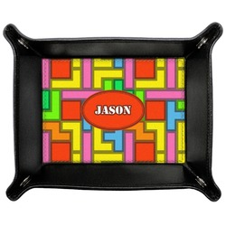 Tetris Print Genuine Leather Valet Tray (Personalized)