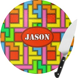 Tetris Print Round Glass Cutting Board (Personalized)