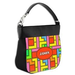 Tetris Print Hobo Purse w/ Genuine Leather Trim (Personalized)