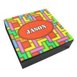 Tetris Print Leatherette Keepsake Box - 3 Sizes (Personalized)