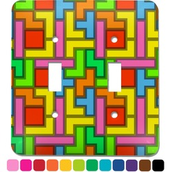 Tetris Print Light Switch Cover (2 Toggle Plate) (Personalized)