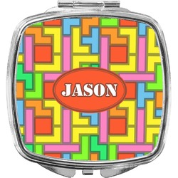 Tetris Print Compact Makeup Mirror (Personalized)