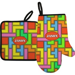 Tetromino Oven Mitt & Pot Holder (Personalized)