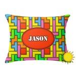 Tetromino Outdoor Throw Pillow (Rectangular) (Personalized)