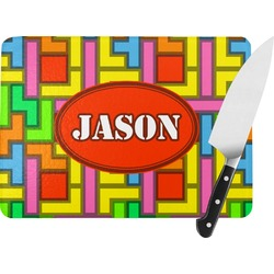 Tetris Print Rectangular Glass Cutting Board (Personalized)