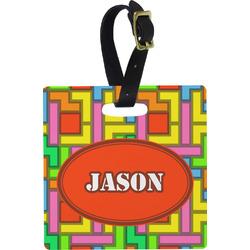 Tetris Print Square Luggage Tag (Personalized)