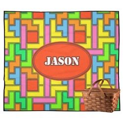 Tetris Print Outdoor Picnic Blanket (Personalized)