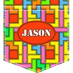 Tetris Print Iron On Faux Pocket (Personalized)