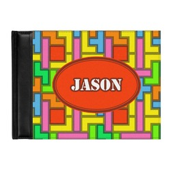 Tetris Print Genuine Leather Guest Book (Personalized)
