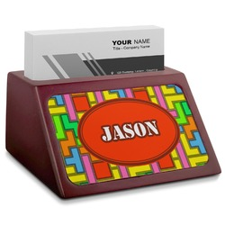 Tetris Print Red Mahogany Business Card Holder (Personalized)