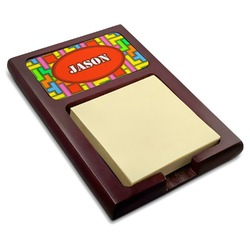 Tetris Print Red Mahogany Sticky Note Holder (Personalized)