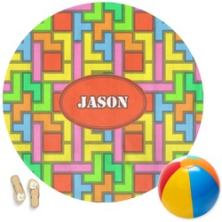 Tetris Print Round Beach Towel (Personalized)