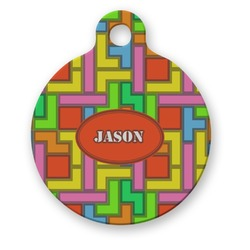 Tetromino Round Pet Tag (Personalized)