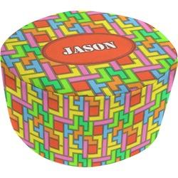 Tetris Print Round Pouf Ottoman (Personalized)