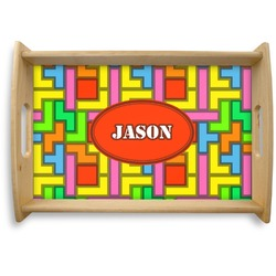 Tetris Print Natural Wooden Tray (Personalized)