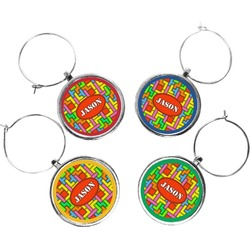 Tetris Print Wine Charms (Set of 4) (Personalized)