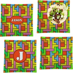 """Tetris Print Set of 4 Glass Square Lunch / Dinner Plate 9.5"""" (Personalized)"""