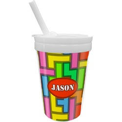 Tetris Print Sippy Cup with Straw (Personalized)