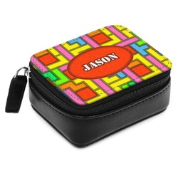 Tetris Print Small Leatherette Travel Pill Case (Personalized)