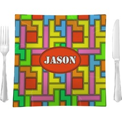 """Tetris Print Glass Square Lunch / Dinner Plate 9.5"""" - Single or Set of 4 (Personalized)"""