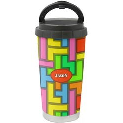 Tetris Print Stainless Steel Travel Mug (Personalized)
