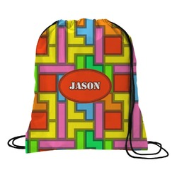 Tetris Print Drawstring Backpack (Personalized)