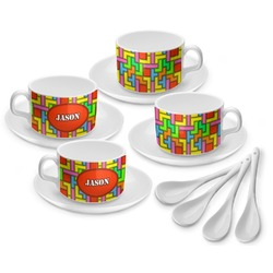 Tetris Print Tea Cup - Set of 4 (Personalized)