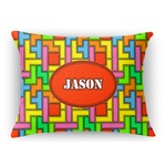 Tetris Print Rectangular Throw Pillow (Personalized)