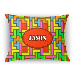 Tetris Print Rectangular Throw Pillow Case (Personalized)