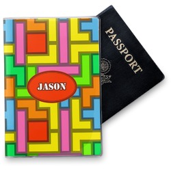 Tetris Print Vinyl Passport Holder (Personalized)