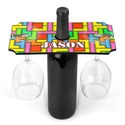Tetris Print Wine Bottle & Glass Holder (Personalized)