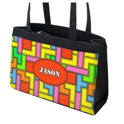 Tetris Print Zippered Everyday Tote (Personalized)