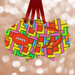 Tetromino Metal Ornaments - Double Sided w/ Name or Text