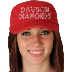 Rhinestone - Dawson Diamonds Hat Red Military Cap (Personalized)