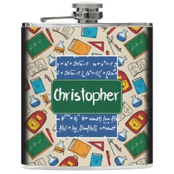 Math Lesson Genuine Leather Flask (Personalized)