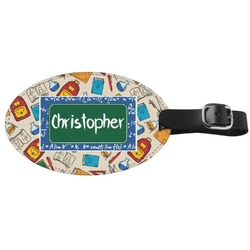 Math Lesson Genuine Leather Oval Luggage Tag (Personalized)