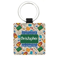 Math Lesson Genuine Leather Rectangular Keychain (Personalized)