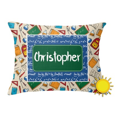 Math Lesson Outdoor Throw Pillow (Rectangular) (Personalized)