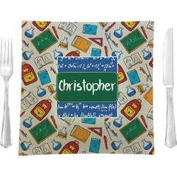 """Math Lesson 9.5"""" Glass Square Lunch / Dinner Plate- Single or Set of 4 (Personalized)"""