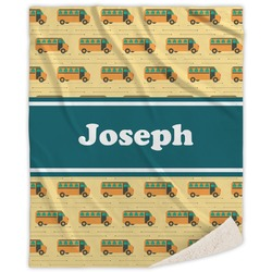 School Bus Sherpa Throw Blanket (Personalized)
