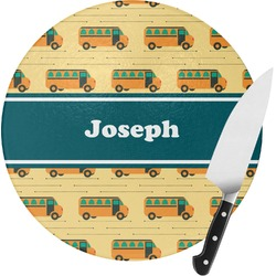 School Bus Round Glass Cutting Board - Small (Personalized)