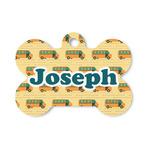 School Bus Bone Shaped Dog Tag (Personalized)