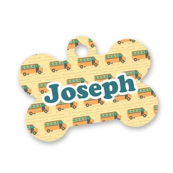 School Bus Bone Shaped Dog Tag (Personalized)