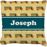School Bus Faux-Linen Throw Pillow (Personalized)