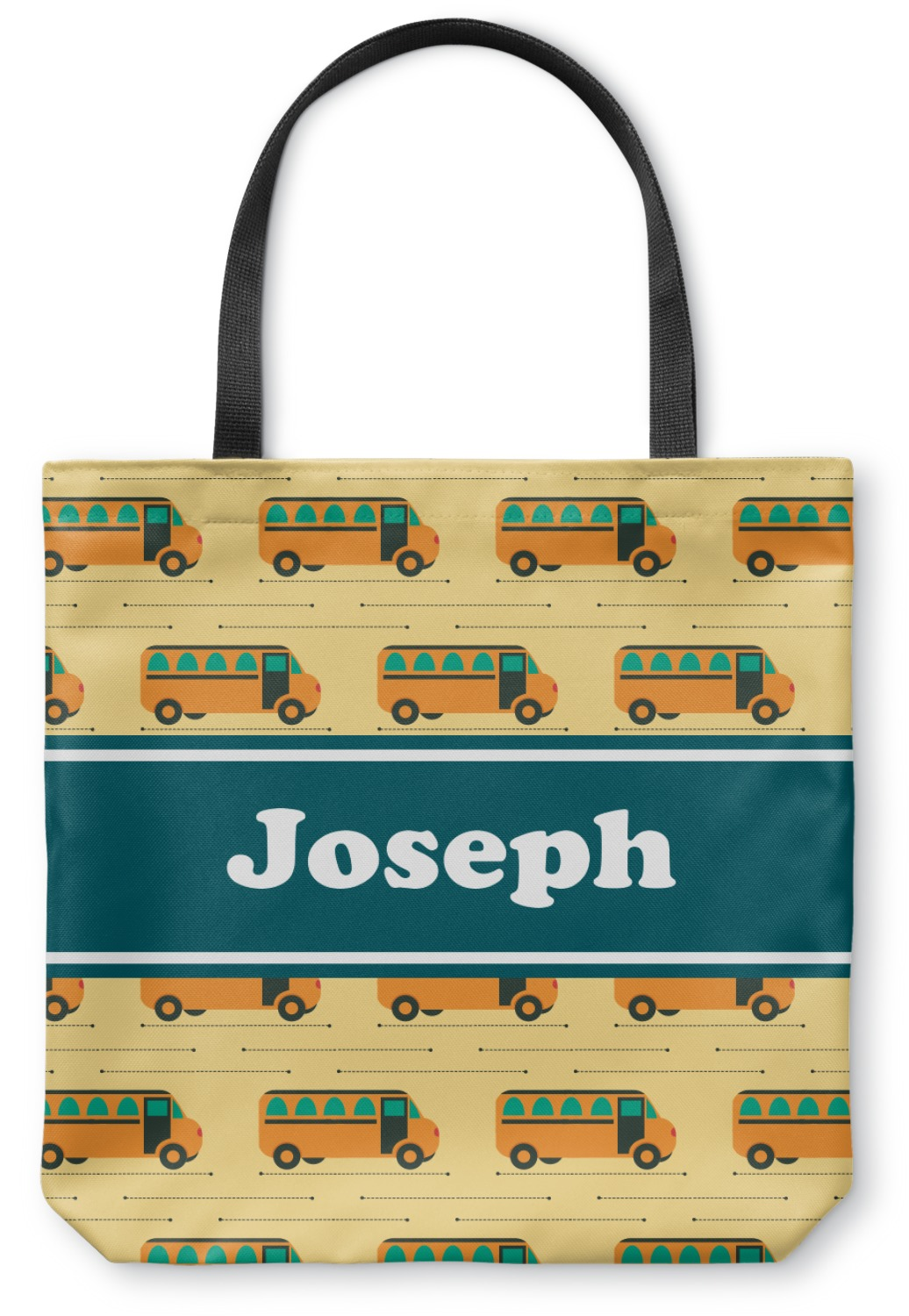 School Bus Canvas Tote Bag Personalized