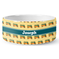 School Bus Ceramic Dog Bowl (Personalized)