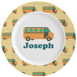 School Bus Ceramic Dinner Plates (Set of 4) (Personalized)